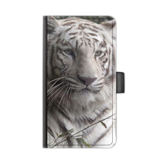 Hairyworm Bianco Neve Tigre Stampato pelle Deluxe Custodia per Telefono, Flip