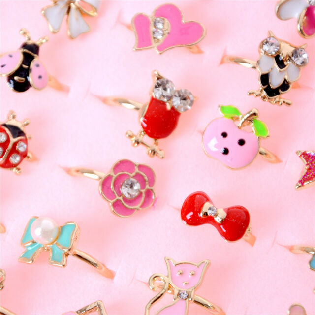 2pcs Adjule Kids Sweet Alloy Rings Children Costume Jewelry Toy Gift