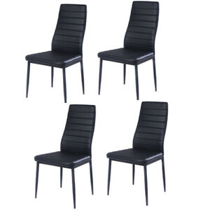 Sensational Details About 4 Of Black Leather Dining Chairs Kitchen Chair Modern Furniture Restaurant Cafe Evergreenethics Interior Chair Design Evergreenethicsorg