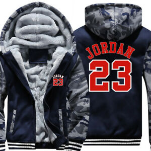 ef549e2581f Mens Fur Fleece Hooded Michael Jordan 23 Coat Hoodie Men Jacket ...