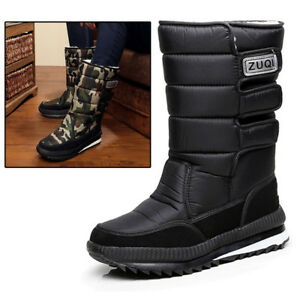 dcf9891c02c Men s Winter Snow Boots Outdoor Warm Fur Shoes Waterproof Mid-Calf ...