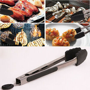BBQ-Tongs-Silicone-Kitchen-Cooking-Salad-Serving-Stainless-Steel-Handle-Utensil