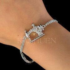 w Swarovski Crystal Frister Rossmann Vintage look ~Sewing machine Charm Bracelet