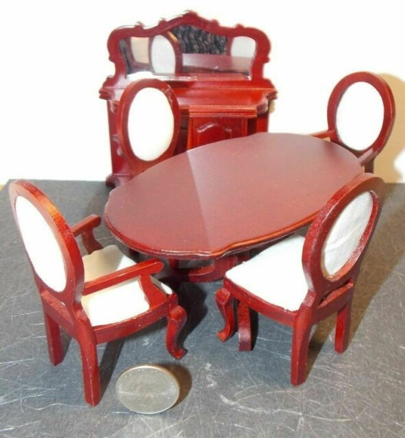 Dollhouse Miniature Mahogany Dining Room Set 1 12 Inch Scale H79 Dollys Gallery