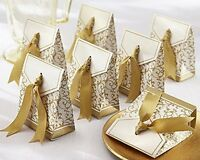 Gold Ribbon Wedding Favor Boxes, New, Free Shipping