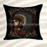 Home Decoration Throw Pillow Cover Day Of The Dead Sugar Skull Cushion Cover