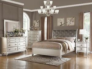 Details about 6PC ZURICH MODERN TRANSITIONAL METALLIC SILVER WOOD QUEEN  KING BEDROOM SET