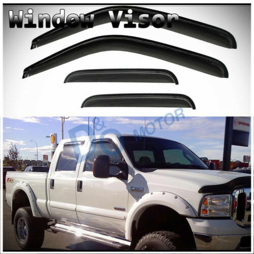 4pcs Sun//Rain Guard Vent Shade Window Visors Fit 99-16 Ford Super Duty Crew Cab