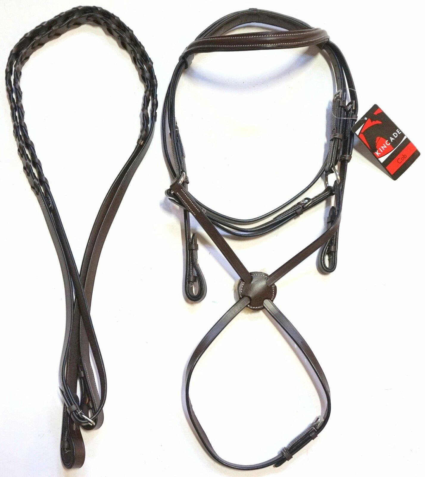 Kincade Brown Leather COB Figure 8 Jumper Event Bridle with Braided Reins