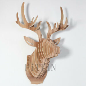 Deer Head Wall Art diy wooden carving deer head wall hanging mount wall art wooden