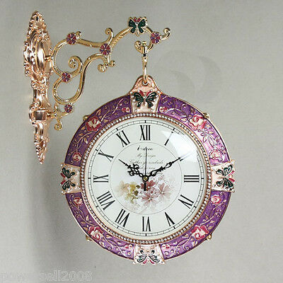 #10 Multicolour Metal+Glass Double-Side H 55 W 31 Wall Decoration Wall Clock
