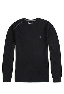 NEW Volcom thermal long sleeve warm t shirt solid black contrast small or medium