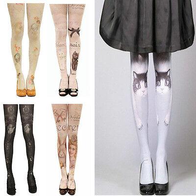 Fashion! Sexy Womens Cat Angel Tattoo Print Pantyhose Tights Stockings Pants