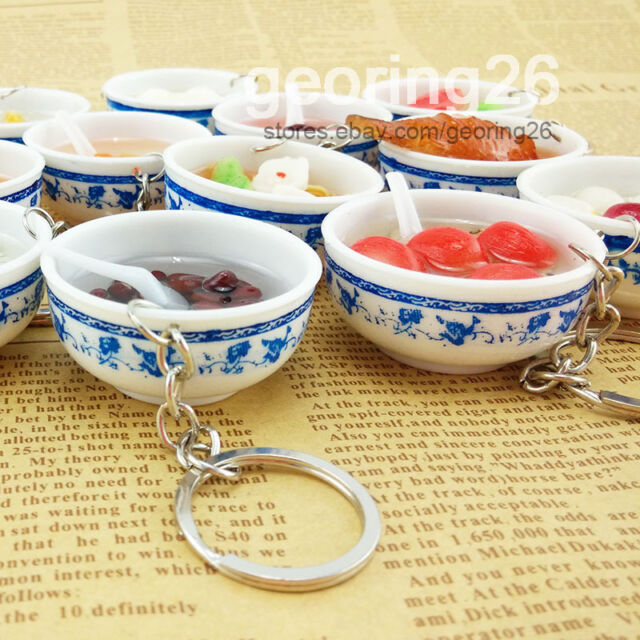1PCS Cute Food Simulation Key Chains Chinese Blue and white porcelain Food Bowl