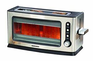 Daewoo-SDA1060-900W-2-Rebanada-Tostadora-De-Cocina-De-Vidrio-Transparente-con-extraible