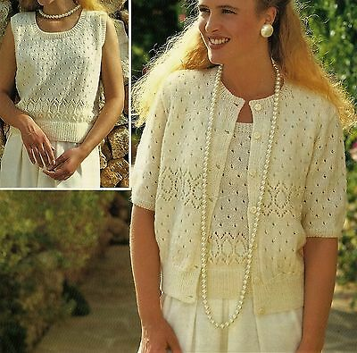 "#201 Ladies Lacy Twin set Cardigan  Top 32-42/"" 81-107c Vintage Knitting Pattern"