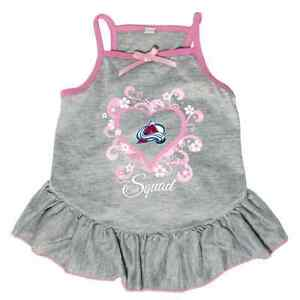new arrivals 7bee3 8859f Details about NEW COLORADO AVALANCHE PET DOG PINK TOO CUTE SQUAD  CHEERLEADER JERSEY TEE DRESS