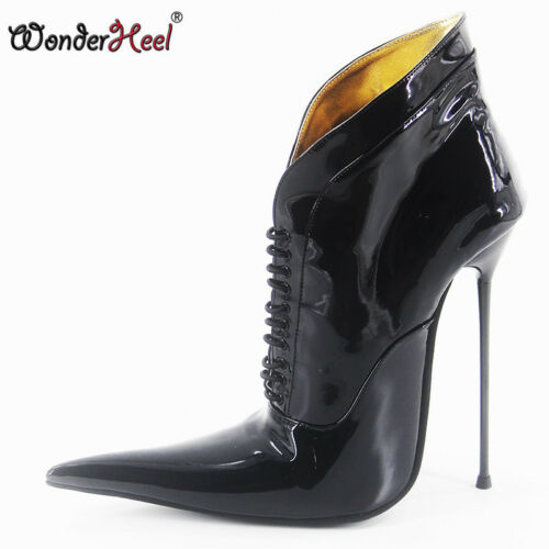 Dames teen lange puntige enkellaarzen Extra dunne 16cm hak Patent Nieuwe Extreme metalen I7yvYbf6g