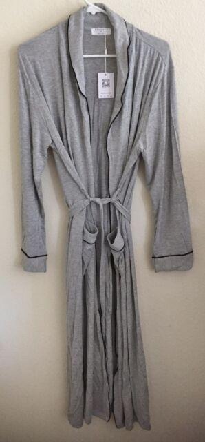 Ekouaer Sleepwear Womens Full Length Wrap Robe Gray Medium
