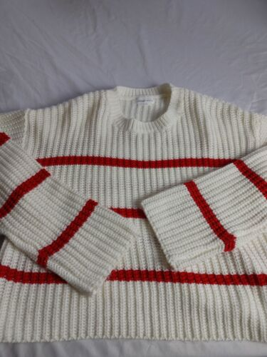 Lovers Friends Sweater Small White Red Striped Swe