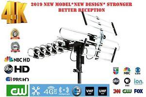 Outdoor HD TV Antenna Newest 2019 Model 200 Miles 360 Degree Rotation UHF/VHF/FM