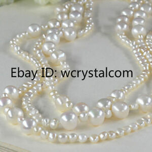 Long-White-Freshwater-Cultured-Nugget-Off-Round-Pearl-bead-Lariat-Necklace-Wrap