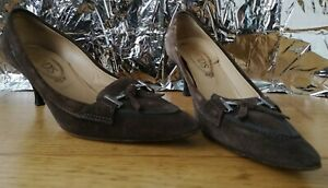 TOD-039-S-SHOES-US8-5-UK5-5-EU38-5-brown-suede-leather-point-toe-kitten-heel