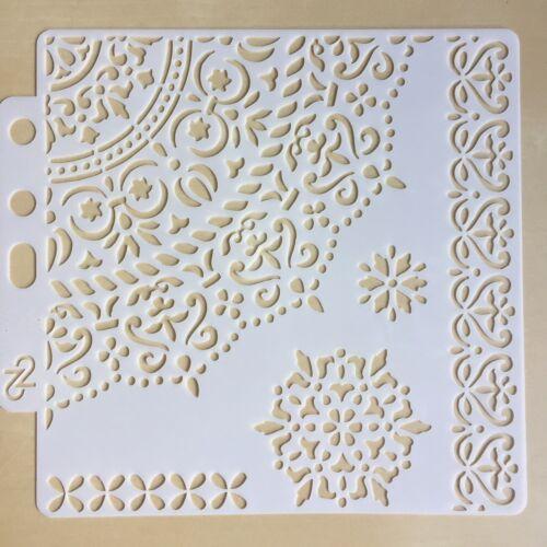 Floral Pochoir Modèle C-Superposition-peinture-Encre Media-fleurs-Napperon