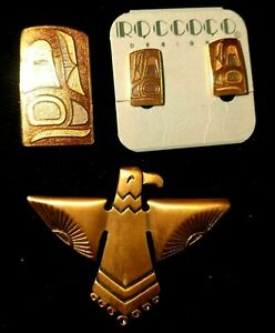 FIRST-NATIONS-Jewelry-Haida-Whale-Fin-Earrings-clip-on-Eagle-Brooch