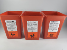 Lot Of 3 Oakridge Products Red 1 Quart Size Sharps Disposal Container No Lids
