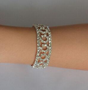 Fashion-Elegant-Silver-Crystal-Rhinestone-Bracelet-Elastic-Bangle-Wedding