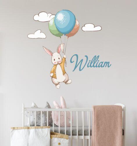 Rabbit Full Color Custom Baby Name Wall Decal Nursery Sticker Decor Vinyl SD61