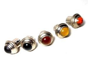 "Drake Nickel Glass Jewel Lens Push-on fit Any 1/2-9/16"" Thread Fender Gibson Amp"