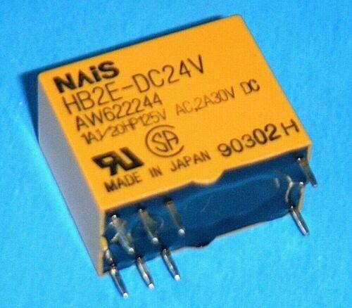 NAiS HB2E-DC24V Relay DPDT-NO 2 Form C 1A 1//20HP 125VAC 2A 30VDC NOS
