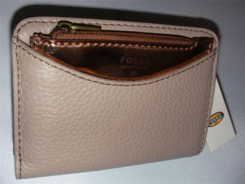 NEW FOSSIL LADIES LEATHER WALLET AUDRI BIFOLD TAUPE BEIGE COLOR