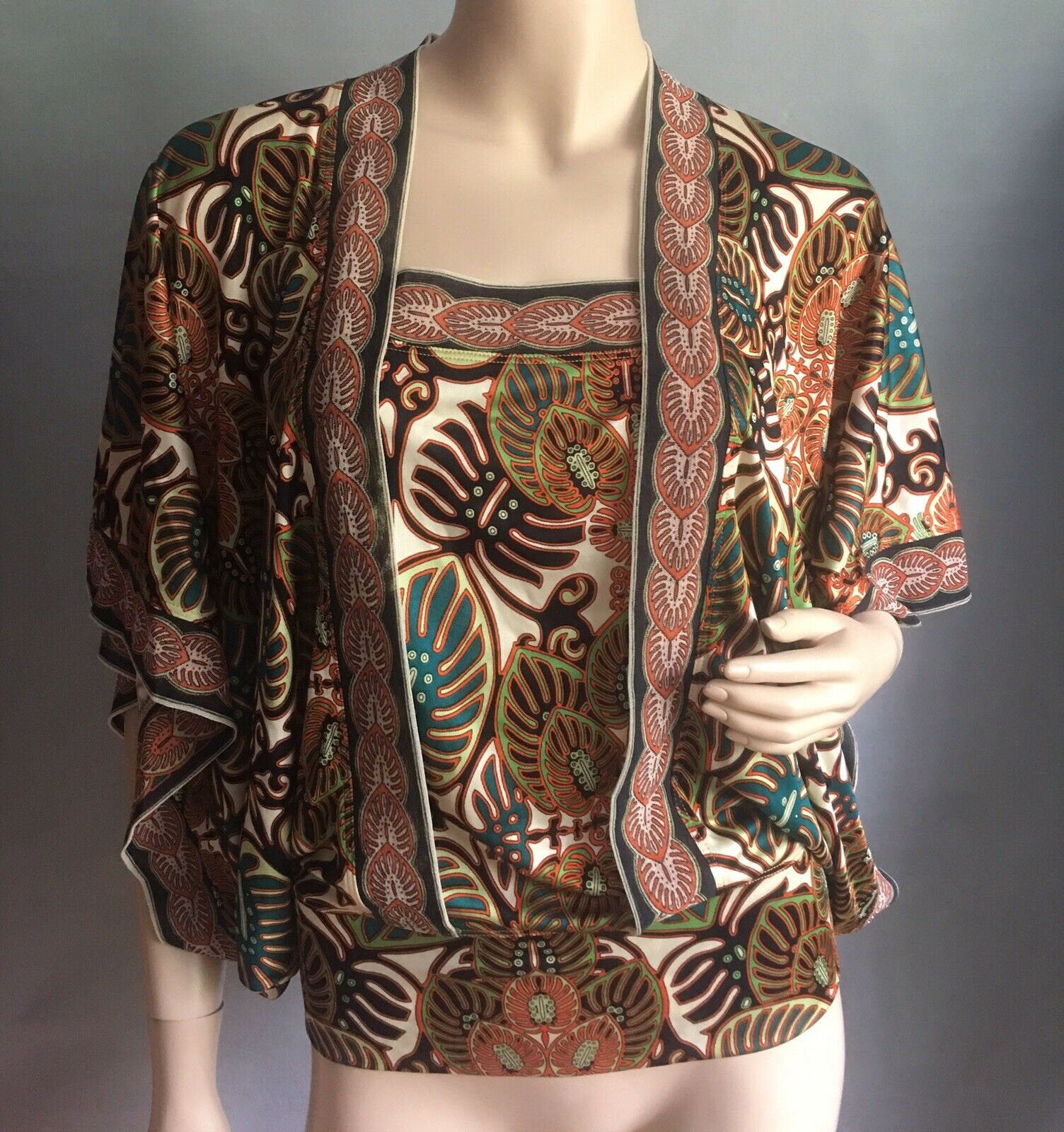 JEAN PAUL GAULTIER Soleil Viscose Leaves Blouse sz M Mint