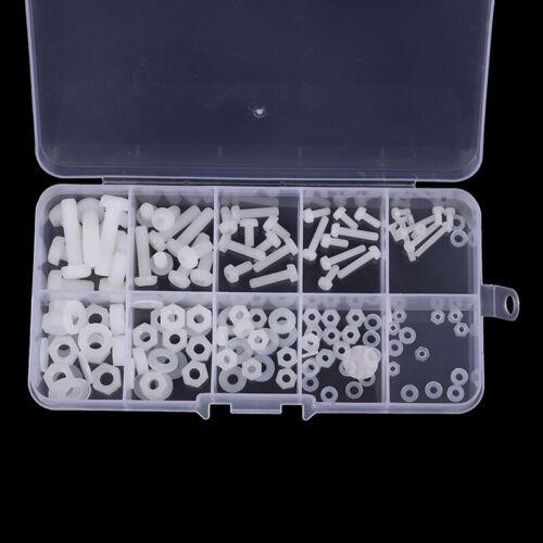 150Pcs M2 M2.5 M3 M4 M5 Nylon Hex Screw Bolt Nut Washer Assortment Kit MA MDYBCH