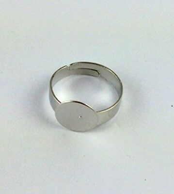 30PCS Silver Tone Ring Base Blank Glue-on 15mm PAD *20835 FREE SHIP