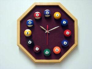 Image Is Loading Billiard Clock Octagon Oak Frame Wine Felt