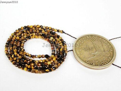 """Natural Ojo De Tigre Piedras Preciosas facetado redondo perlas de 15/"""" 2 mm 4mm 6mm 8mm 10mm 12mm"""