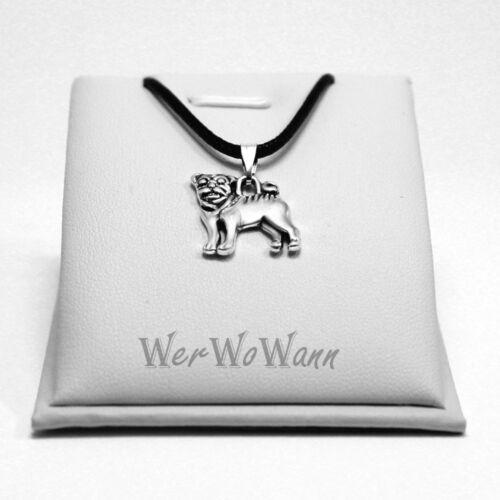 H1 Pug Hund Silberfarbend necklace ❤️ Halskette mit Anhänger Mops