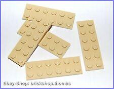 Lego 5 x Platte (2 x 6) - 3795 tan plate - beige - NEU / NEW