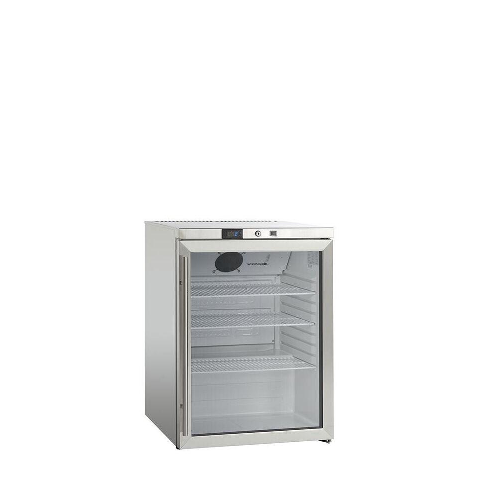 SK 145 GDE rustfrit stål køleskab med glasdør