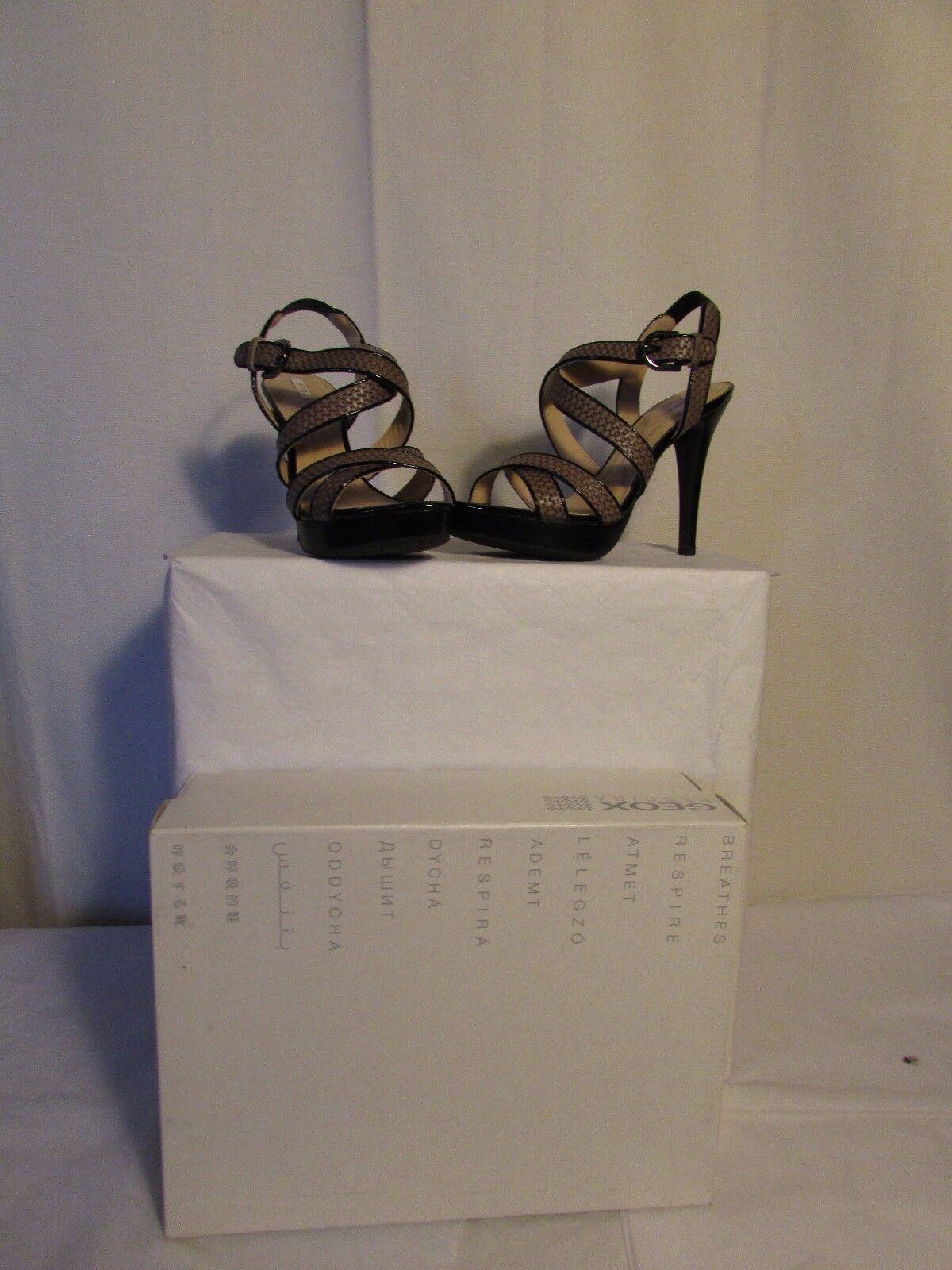 SANDALES habillées GEOX cuir taupe imitation tissage et cuir black 38