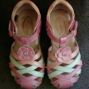 Toddler Girls/' Surprize by Stride Rite Joyce Fisherman Sandals White Pink Flower