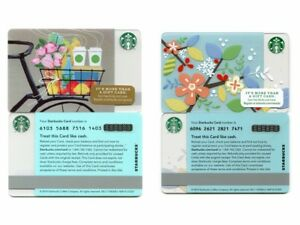 2-NEW-NEVER-USED-2013-amp-2014-Spring-Flowers-Coffee-amp-Bicycle-Starbucks-Cards