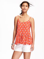 Old Navy Women Top Peplum Xl Geo Print Orange Spaghetti Straps Swing Rayon