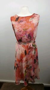 Tamaris-Pink-Floral-Sleeveless-Scoop-Neck-Matching-Belt-Skater-Dress-Size-20