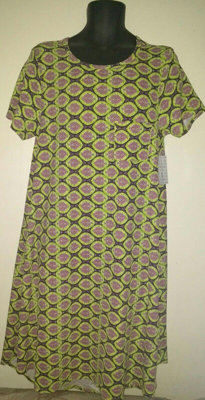 868a75f9 Lularoe Carly Dress XL NWT Pink, Purple,Green Print Jacquard Material