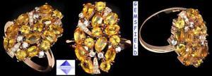 FAIT MAIN - 14 CITRINES VVS sur argent .925 plaqué or rose 14KT - taille 7 GiROYK7y-09104907-168171168